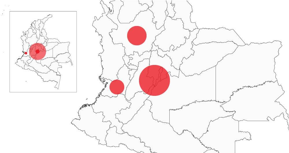El mapa del contagio del coronavirus en Colombia