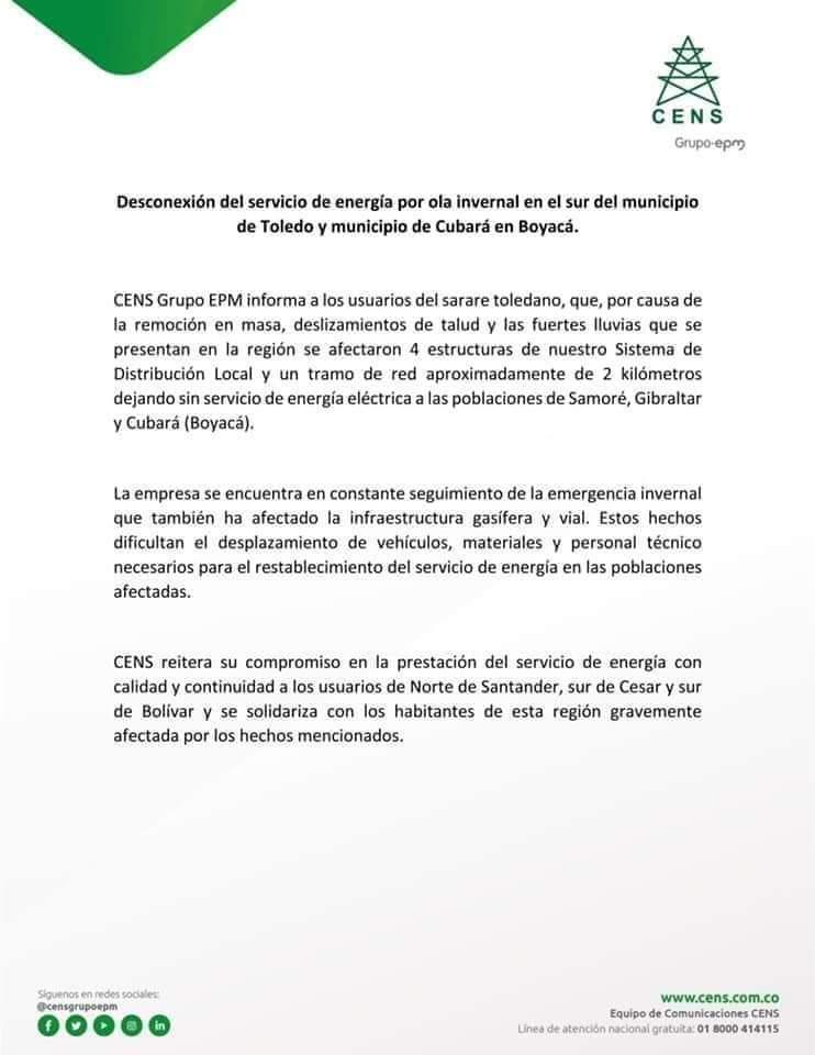 Aun no se confirma si Arauca podría verse afectada en sistema de energía eléctrica, si persisten dificultades a causa del invierno